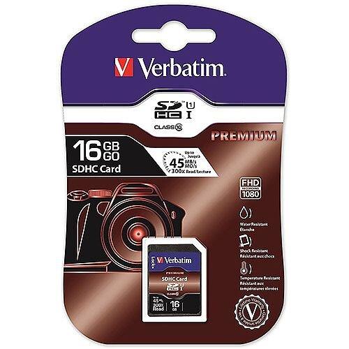 Verbatim Premium SDHC Memory Card 16GB Class 10 43962
