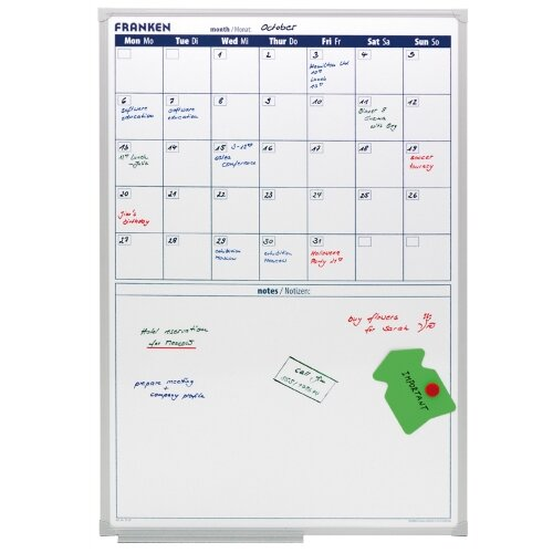 Franken Monthly Planner 600 x 900mm – 5 Week Plan, Magnetic, Dry and Wet Markers, Write On and Write Off, Aluminium &Extra Space For Memos (VO-18)