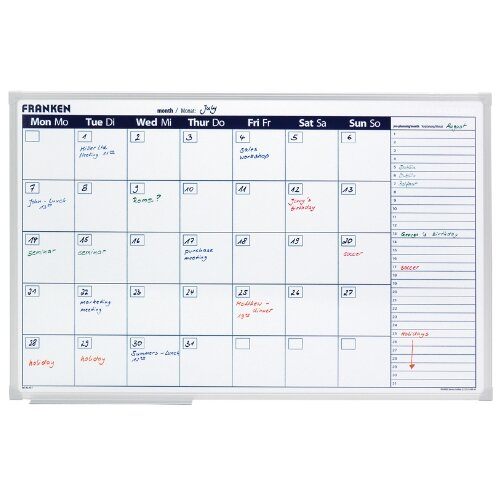 Franken Monthly Planner 900 x 600mm – 7x5, Next Month Planner, Magnetic, Drywipe Markers, Aluminium, Write-On, Wall Mountable &Marker Tray (VO-7)