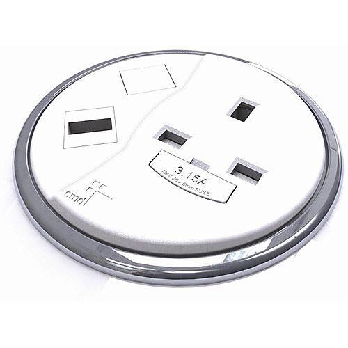 CMD Desk White Desktop Porthole 1 x Power 1 x USB WDP-1P1U