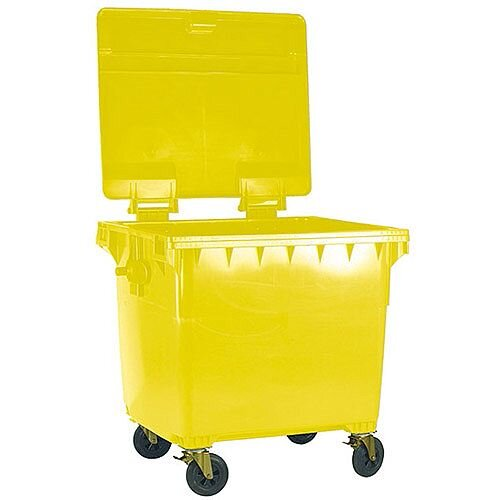 Yellow Clinical Waste 1100 Litre Wheelie Bin with Flat Lid H1470 x W1360mm 377921