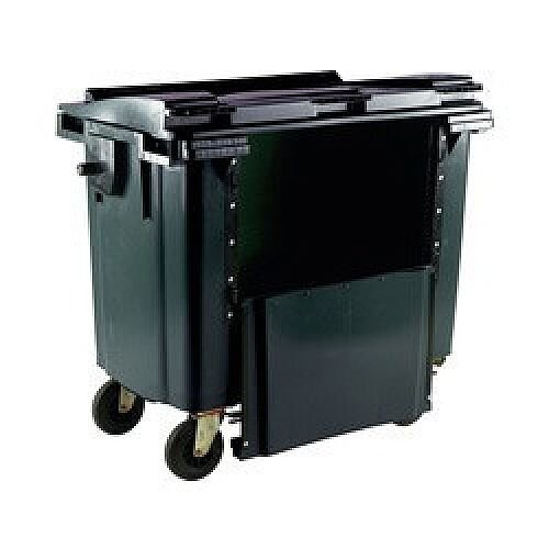 Wheeled Bin 1100 Litre with Drop Down Front Flat Lid Grey  124585