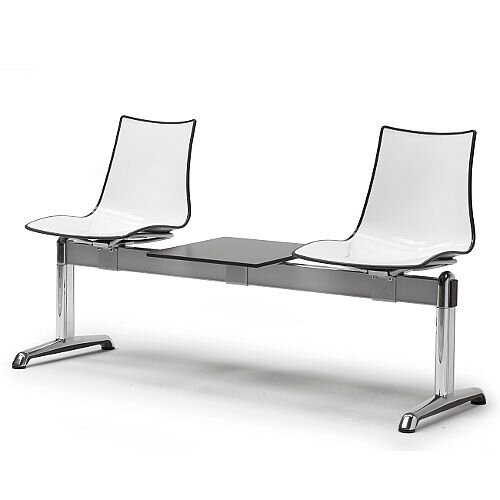 Zebra Bicolore 2 Seater Bench With Table White/Anthracite
