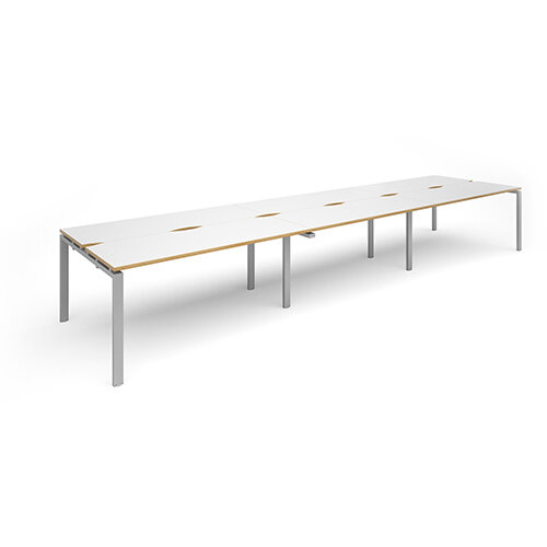 Adapt II triple back to back desks 4800mm x 1200mm - silver frame, white top with oak edging