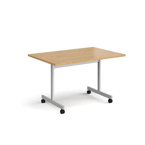 Rectangular fliptop meeting table with silver frame 1200mm x 800mm - oak