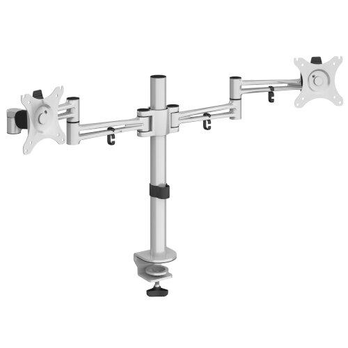 Luna double flat screen monitor arm - silver