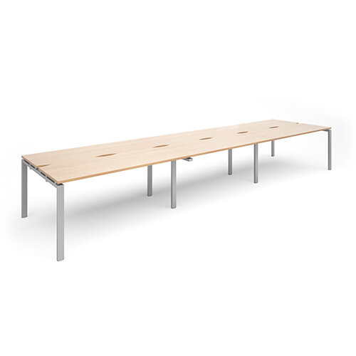 Adapt II sliding top triple back to back desks 4800mm x 1200mm - silver frame, beech top