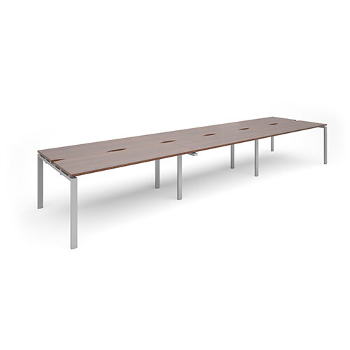 Adapt II sliding top triple back to back desks 4800mm x 1200mm - silver frame, walnut top