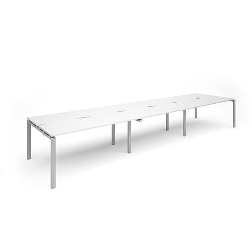 Adapt II sliding top triple back to back desks 4800mm x 1200mm - silver frame, white top