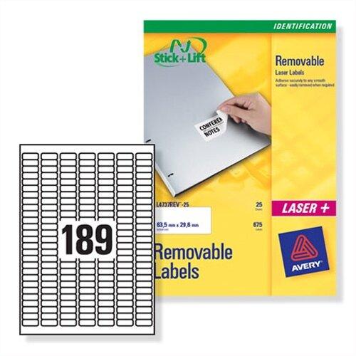 avery mini laser labels removable 189 per sheet l4731rev 25 25 4