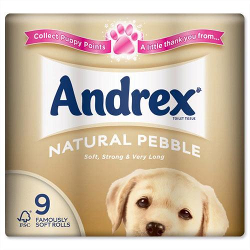 Andrex Natural Pebble Toilet Rolls Pack 9 Toilet Paper