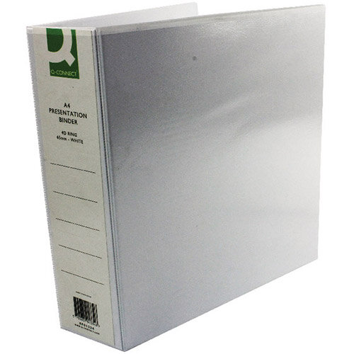 Q-Connect White 65mm Presentation 4D-Ring Binder Pack Of 6