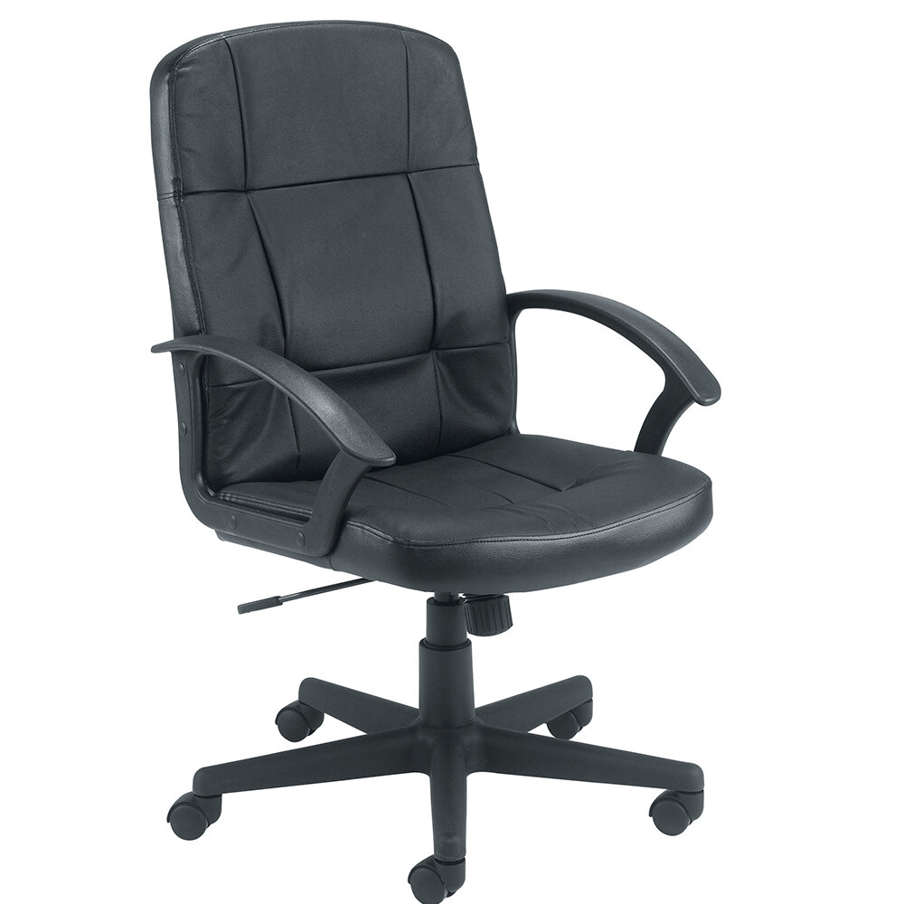 office leather chair. Play Video. Jemini Medium Back Leather Look Executive Office Armchair Office Leather Chair