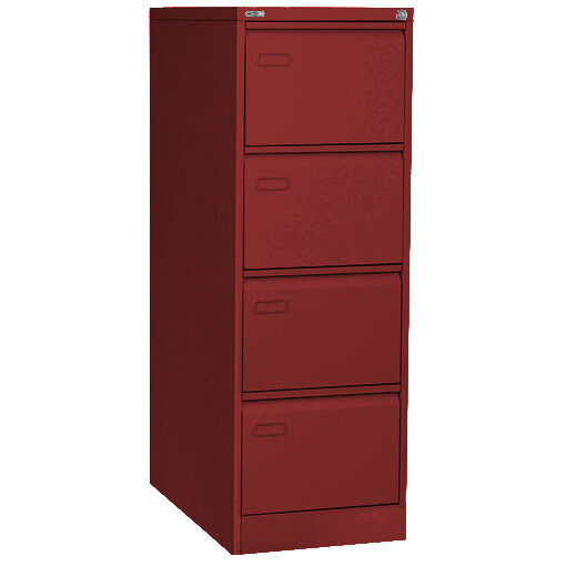 GO 4 Drawer Steel Filing Cabinet Red ...