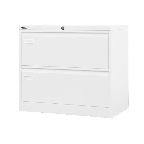 Wide Side Steel Filing Cabinet White 2 Drawer 800mm Wide 750mm Height