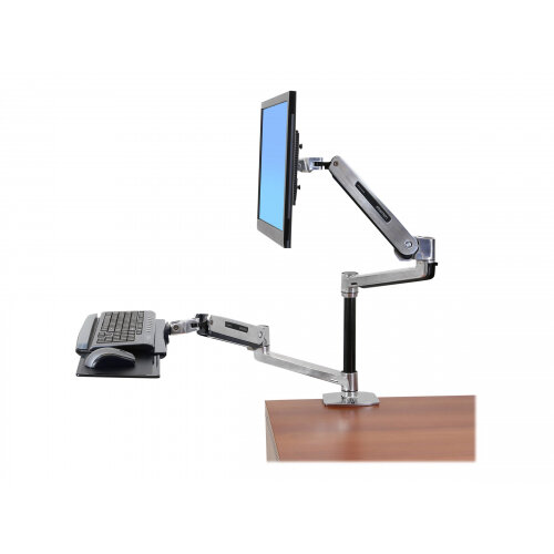 Ergotron Workfit Lx Sit Stand Desk Mount System Mounting Kit Articulating Arm Pole Keyboard Arm 2 Extension Brackets Wrist Rest 2 Collars