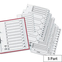 Concord Classic 1-5 Index A5 Subject Dividers 2 Holes White