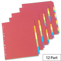 Concord Bright Subject Dividers A4 Europunched 12-Part Assorted