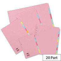 Concord Subject Dividers 20-Part A4 Assorted Colours