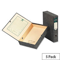 Rexel Classic Foolscap Box File Lock Spring Cloudy 50mm Spine Pack 5