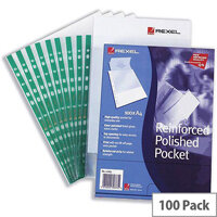 Rexel Clear Punched Pockets A4 Green Strip 80 Micron Pack 100