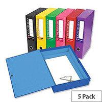 A4 Box File Blue Lock Spring 70mm Spine Pack 5 Eastlight Colorado