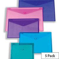 Snopake Polyfile Electra Foolscap Wallet File Purple Pack 5