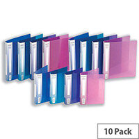 Snopake Ring Binder A4 Assorted Plastic 2 O-Ring 25mm Size Pack 10