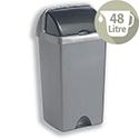 Addis Roll Top Tall Plastic Waste Bin 48 Litres Metallic Silver 9716MET