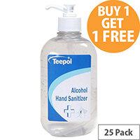 Teepol - Fully Approved Ethanol Based Hand Sanitiser Gel 500ml PCS 97238 Pack of 25