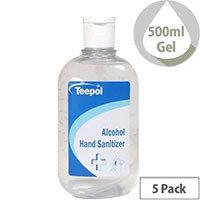 Teepol - Fully Approved Ethanol Based Hand Sanitiser Gel 500ml PCS 97238 Pack of 5