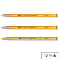 Sharpie China Marker Pencil Yellow Peel-off Unwraps to Sharpen Pack 12