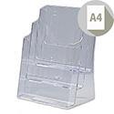 Brochure Display Holder 3 Tier A4 Pockets Clear Deflecto