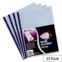 Rexel Nyrex Punched Pocket A4 Clear Blue Strip 90 Micron Pack 25