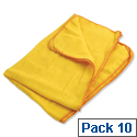 Yellow Dusters 100 per Cent Cotton 500x350mm Ref 0318 Pack 10 034729