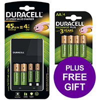 Duracell Battery Charger Hi Speed for AA/AAA Ref 81528873 (FREE AA Battery Pack 4) Apr-Sep 2019