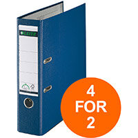 Leitz Lever Arch File Plastic 80mm Spine A4 Blue Ref 10101035 Pack of 10 (4 For 2) Jul-Sept 2019