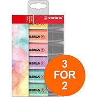 Stabilo Boss Pastel Highlighters Chisel Tip 2-5mm Pastel Ast Ref 70/6-2 Pack of 6 (3 For 2) Jul-Sept 2019