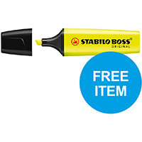 Stabilo Boss Highlighters Chisel 2-5mm Ylw Ref 70/24/10 Pack of 10 (x2 & FREE 88 Fineliner Pk 10) Oct-Dec 2019