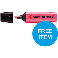 Stabilo Boss Highlighters Chisel 2-5mm Pink Ref 70/56/10 Pack of 10 (x2 & FREE 88 Fineliner Pk 10) Oct-Dec 2019