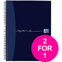 Oxford MyNotes Notebook Wirebound 90gsm Ruled Margin Perforated Punched 4 Holes 200pg A4 Ref 100082373 Pack of 3 (2 for 1) Jan12/20