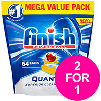 Finish Quantum Dishwasher Powerball Tablets All-in-1 Lemon Ref RB791158 (Pack 64) (2 for 1) Jan-Mar 2020