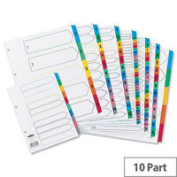 Concord A4 Index Multicolour Tabs 4 Holes 10-Part Subject Divider White