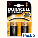 Duracell Plus Power Battery Alkaline C 1.5V Pack 2