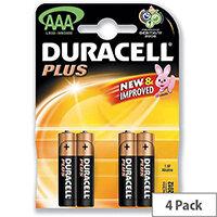 Duracell Plus AAA Size 1.5V Alkaline Battery MN2400B4 Pk 4