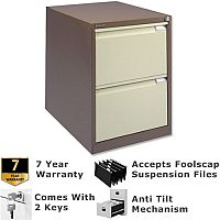 2 Drawer Steel Filing Cabinet Flush Front Brown & Cream Bisley BS2E