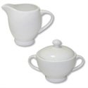 White Fine Bone China Sugar Bowl and Jug