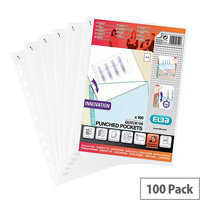 Elba Punched Poly Pocket Quick Insert A4 Clear 75 Micron Ref 400012939 [Pack 100]