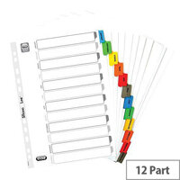 Elba Dividers Europunched Jan-Dec with Coloured Tabs A4 White Ref 100204963