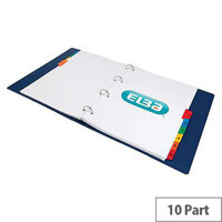 Elba Dividers Europunched 1-10 with Coloured Tabs Extra Wide A4 White Ref 100204963